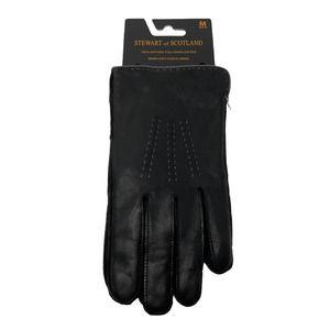 Stewart of Scotland Black Leather Driving Glove